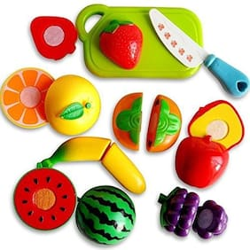 Jaynil Enterprise  Realistic Sliceable Fruits & Vegetables Cutting Play Set;Can Be Cut in 2 Parts