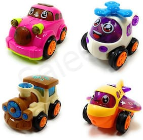Jaynil  Set of 4 Unbreakable Beautiful Friction Powered Automobile Car Helicopter Plane Train Toys for Kids