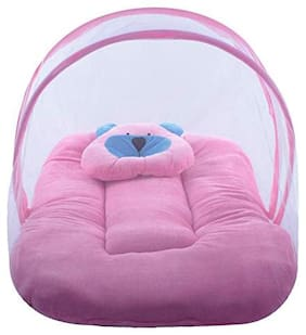 JBG Pink Soft and Comfortable Velvet Baby Bedding Set with Protective Mosquito Net and Pillow