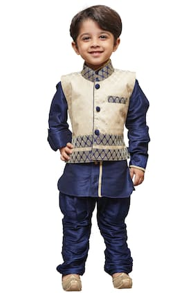 JBN Creation Boy Cotton Solid Ethnic jacket - Blue