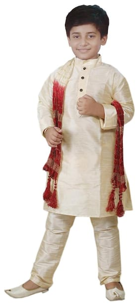 JBN Creation Boy Silk Blend Printed Sherwani - Beige