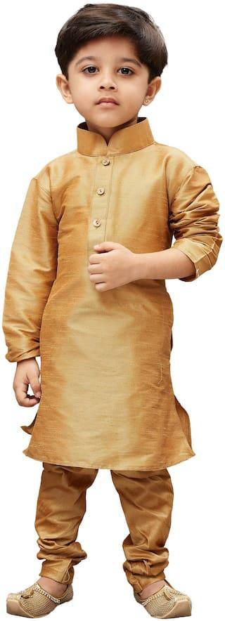 JBN Creation Boy Cotton blend Solid Kurta pyjama set - Gold