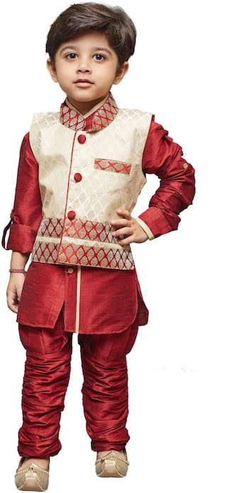JBN Creation Boy Cotton Printed Kurta pyjama set - Maroon