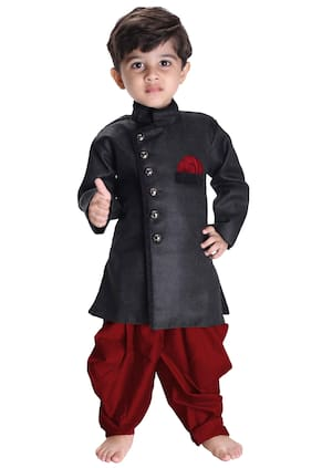 JBN Creation Boy Cotton Solid Dhoti Kurta - Black