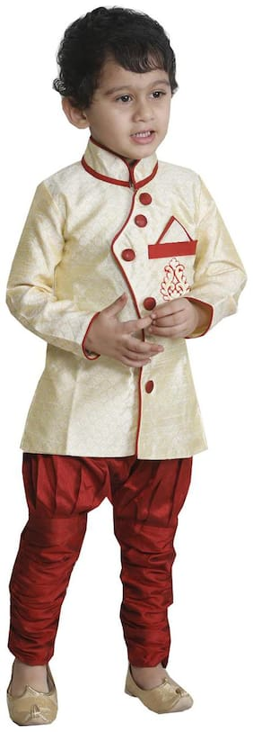 JBN Creation Cream And Red Indo Western With Jodhpuri Breeches