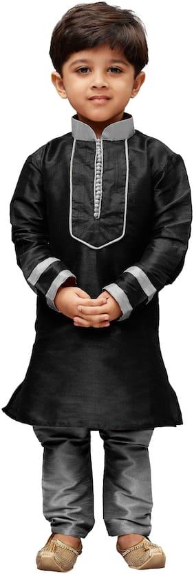 JBN Creation Boy Cotton Solid Kurta pyjama set - Black
