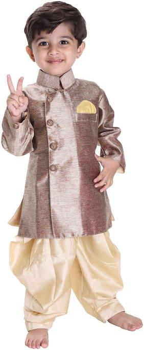 JBN Creation Boy Cotton Solid Sherwani - Gold