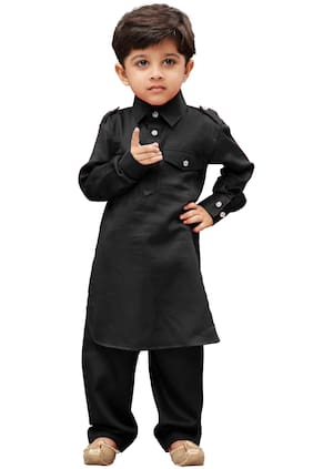 JBN Creation Boy Cotton Solid Kurta pyjama set - Black