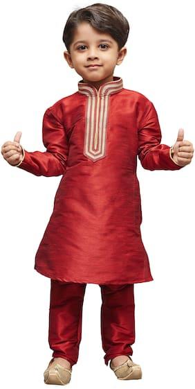 JBN Creation Boy Cotton Blend Embellished Kurta Pyjama Set - Maroon