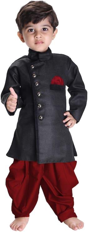JBN Creation Boy Blended Embellished Sherwani - Black