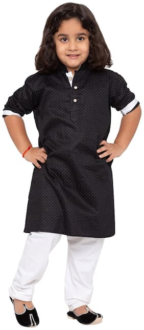 JBN Creation Baby boy Cotton Self design Kurta pyjama set - Black