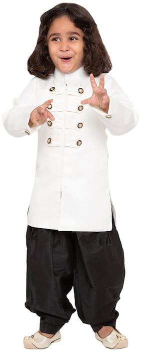 JBN Creation Baby boy Cotton blend Self design Dhoti kurta - White