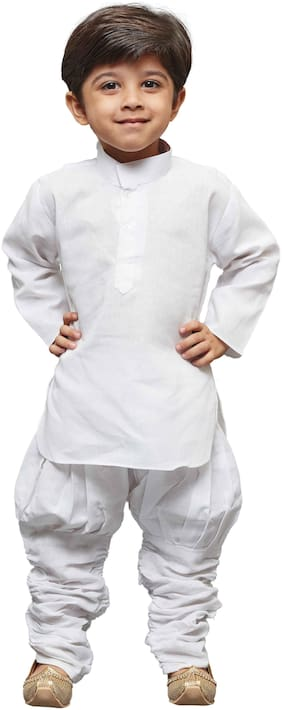 JBN Creation Boy Linen Solid Kurta pyjama set - White