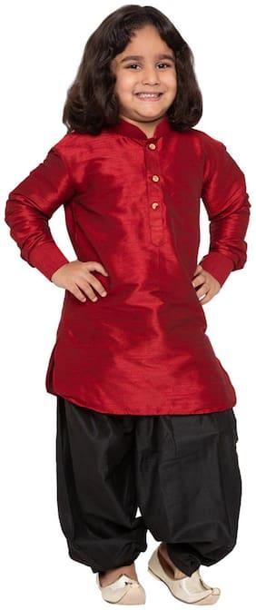 JBN Creation Boy Cotton blend Self design Dhoti kurta - Maroon