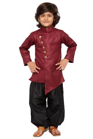 2ae5289c99d JBN Creation Baby Boy Cotton Blend Self Design Dhoti Kurta - Maroon