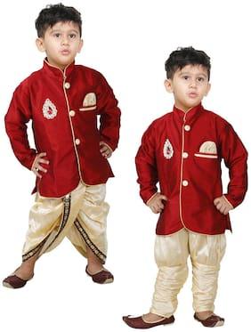 JBN Creation Baby boy Silk blend Solid Kurta pyjama set - Red