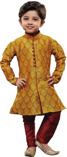 JBN Creation Boy Cotton Solid Kurta pyjama set - Yellow