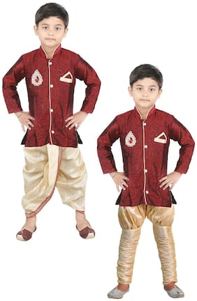 JBN Creation Boy Brocade Printed Kurta pyjama set - Maroon