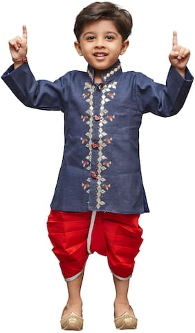 JBN Creation Boy Linen Solid Kurta pyjama set - Blue