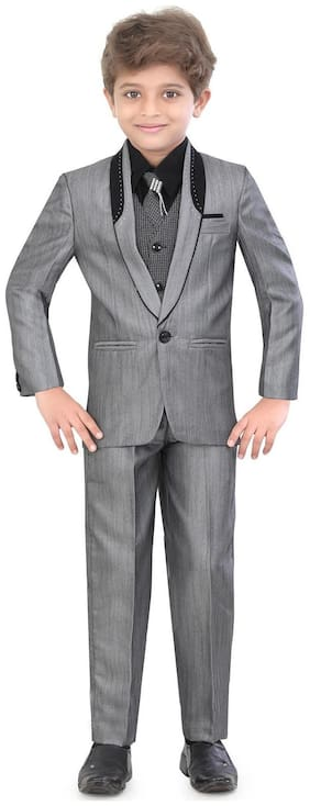 Jeet Boy Silk blend Printed Kurta pyjama set - Grey