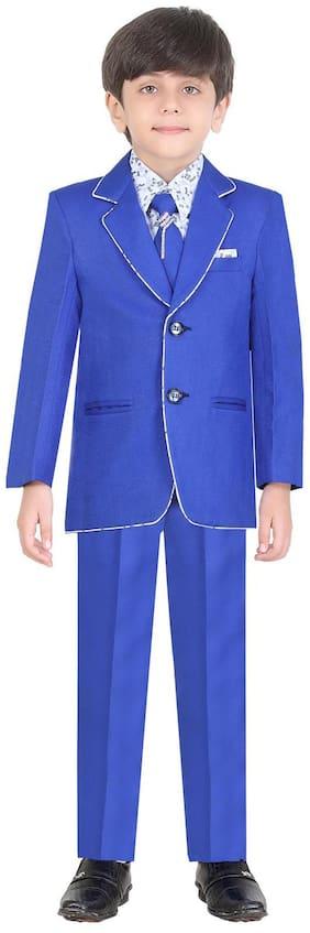 Jeet Boy Silk blend Solid Kurta pyjama set - Blue