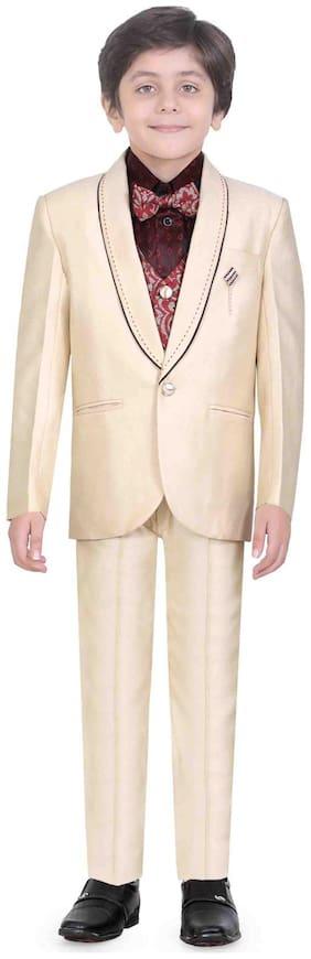 Jeet Stylish Cream Boys Coat Suit Set