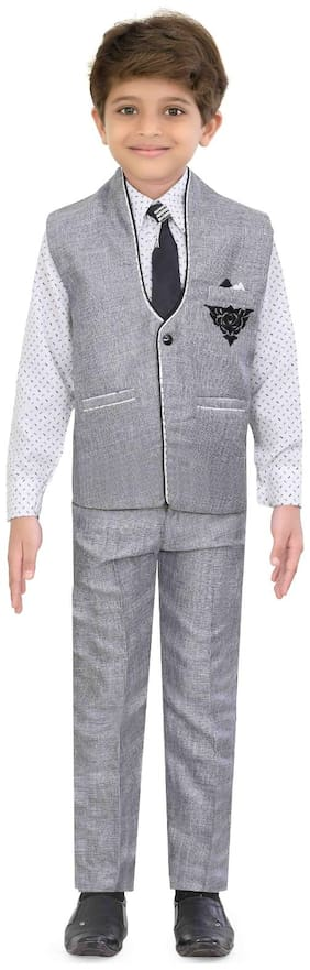 Jeetethnics Boy Silk Printed Kurta pyjama set - Grey