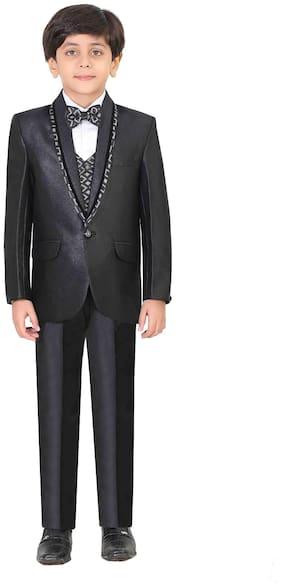 Jeet Boy Silk Solid Kurta pyjama set - Black