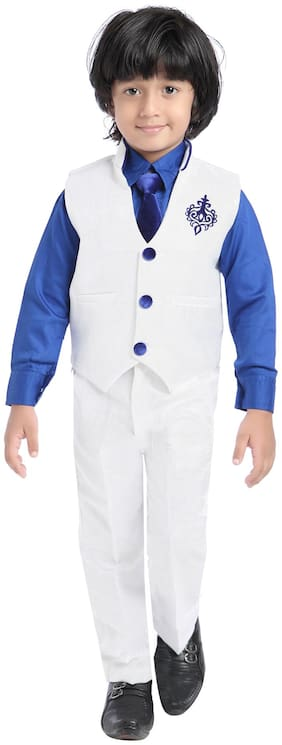 Jeet White And Blue Boys Waistcoat Suit Set