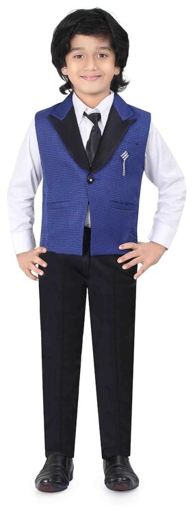 Jeetethnics Boy Silk Solid Kurta Pyjama Set - Blue