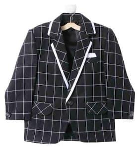 Jeetethnics Boy Silk blend Solid Winter jacket - Black