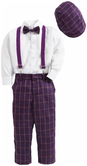 Jeetethnics Blended Solid Top & Bottom Set - Purple & White