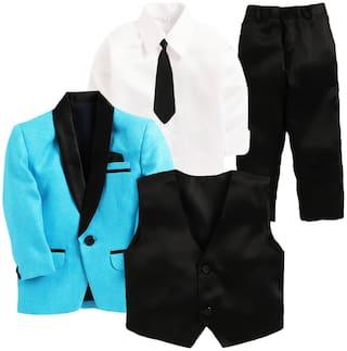 Jeetethnics Blue Boys Coat Suit Set(Multi)