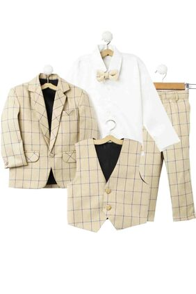 Jeetethnics Boy Silk Blend Solid Ethnic Jacket - Cream