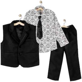 Jeetethnics Boy Silk blend Solid Ethnic jacket - Black