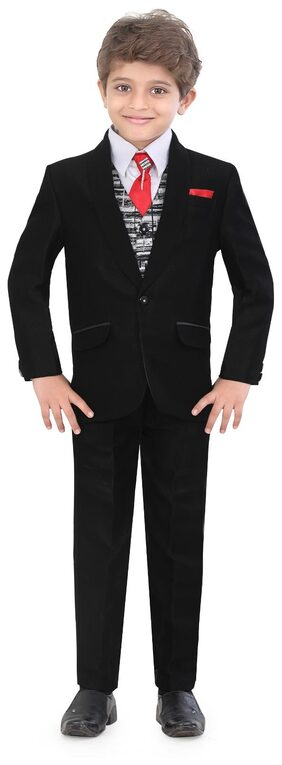 Jeetethnics Boy Silk Blend Solid Sherwani - Black