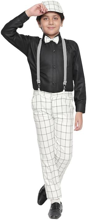 Jeetethnics Blended Checked Top & Bottom Set - White & Black