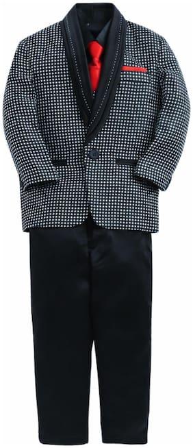 Jeetethnics Black Boys Coat Suit Set