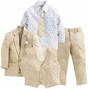 Jeetethnics Beige;White Boys Coat Suit Set