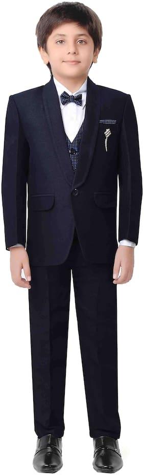 Jeetethnics Boy Silk blend Solid Kurta pyjama set - Black