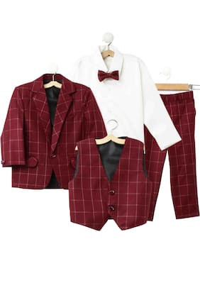 Jeetethnics Boy Silk blend Solid Ethnic jacket - Maroon