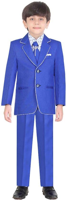 Jeetethnics Boy Silk Solid Kurta pyjama set - Blue