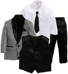 Jeetethnics Black;White Boys Coat Suit Set