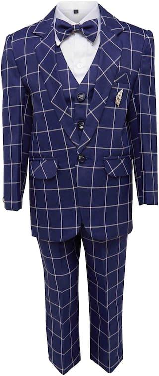 Jeetethnics Boy Silk blend Checked Kurta pyjama set - Blue