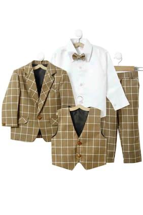 Jeetethnics Boy Silk Blend Solid Ethnic Jacket - Brown
