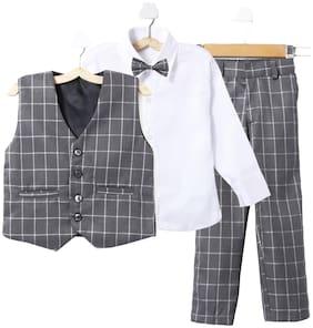 Jeetethnics Blended Self design Top & Bottom Set - Grey