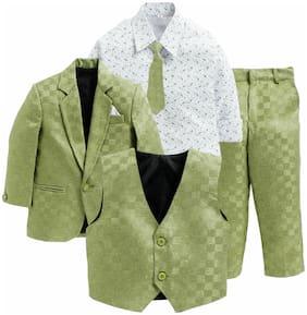 Jeetethnics Green;White  Boys Coat Suit Set