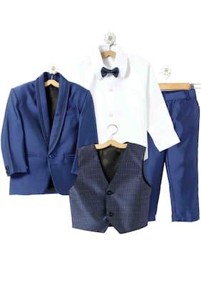 Jeetethnics Boy Silk Blend Solid Ethnic Jacket - Blue