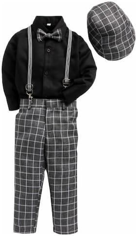 Jeetethnics Blended Solid Top & Bottom Set - Grey & Black