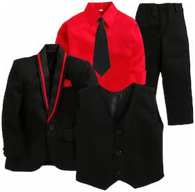 Jeetethnics Black Boys Coat Suit Set